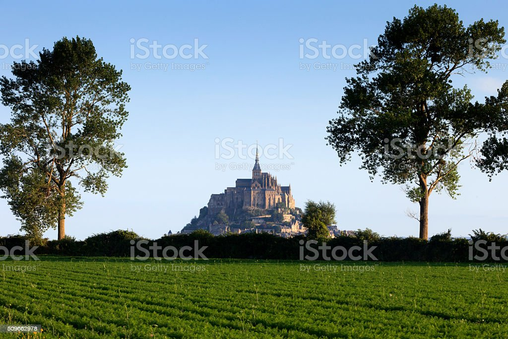 picturesque view on Mont Saint-Michel in France stock photo