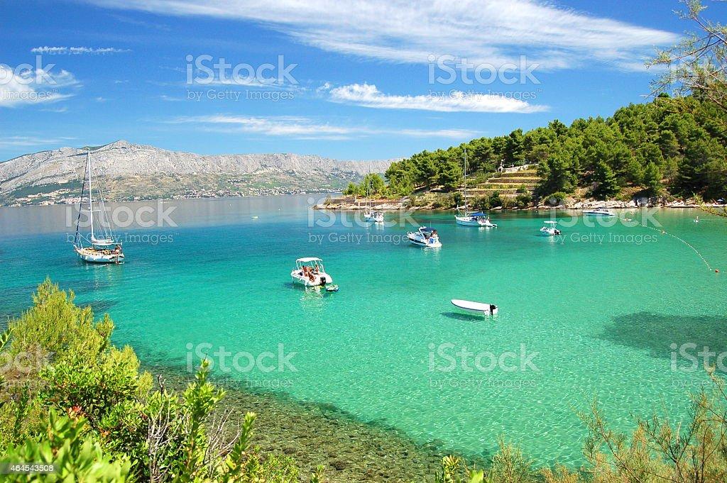 Picturesque view on sandy Lovrecina beach on Brac island, Croatia stock photo