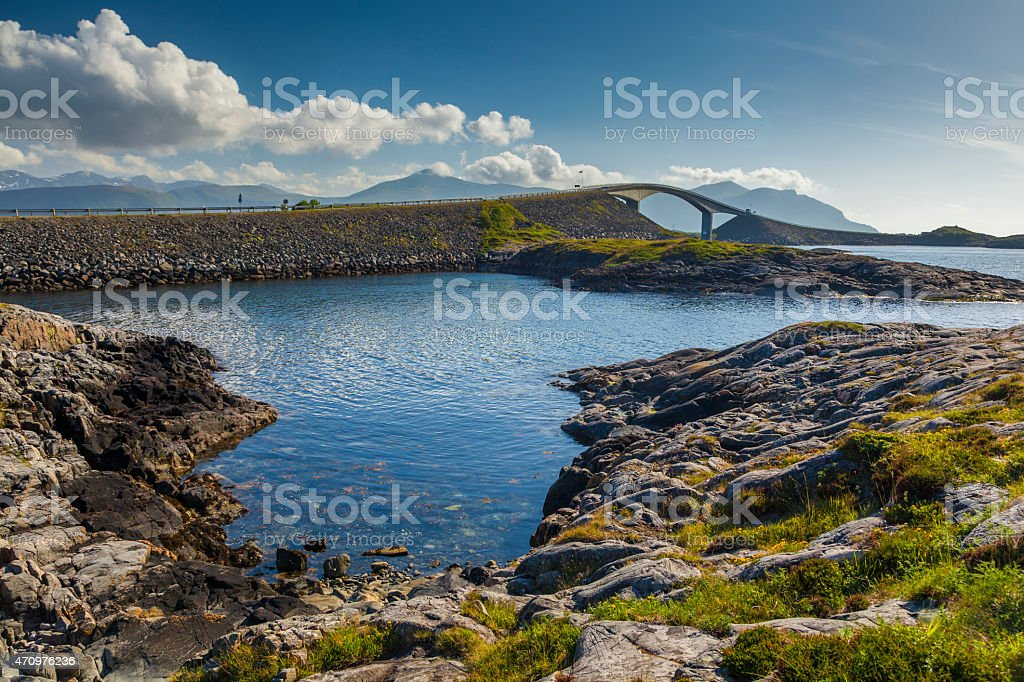 Picturesque views of the Atlantic Road. Norway. stock photo