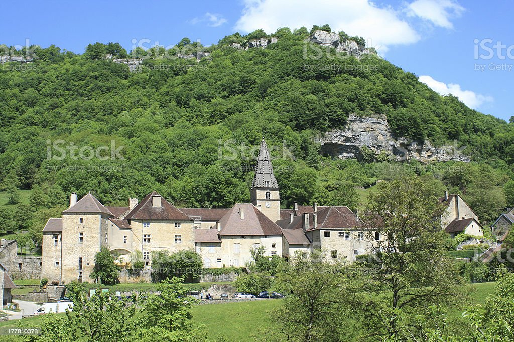 Picturesque village of Beaume-les-Messieurs stock photo