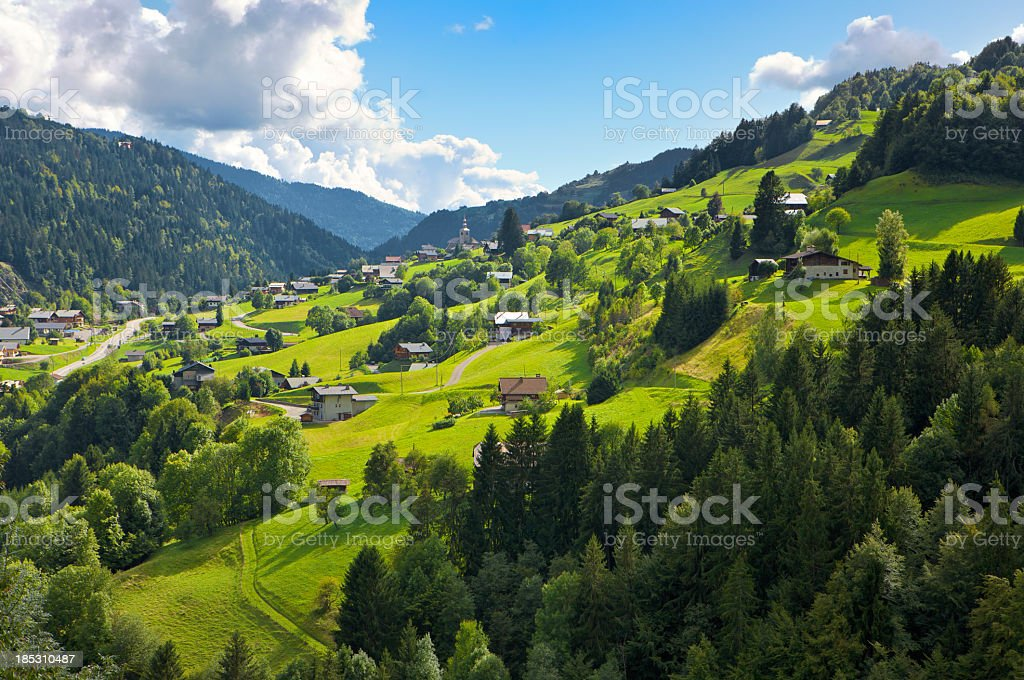 Picturesque village St Nicolas La Chapelle in the French Alps stock photo