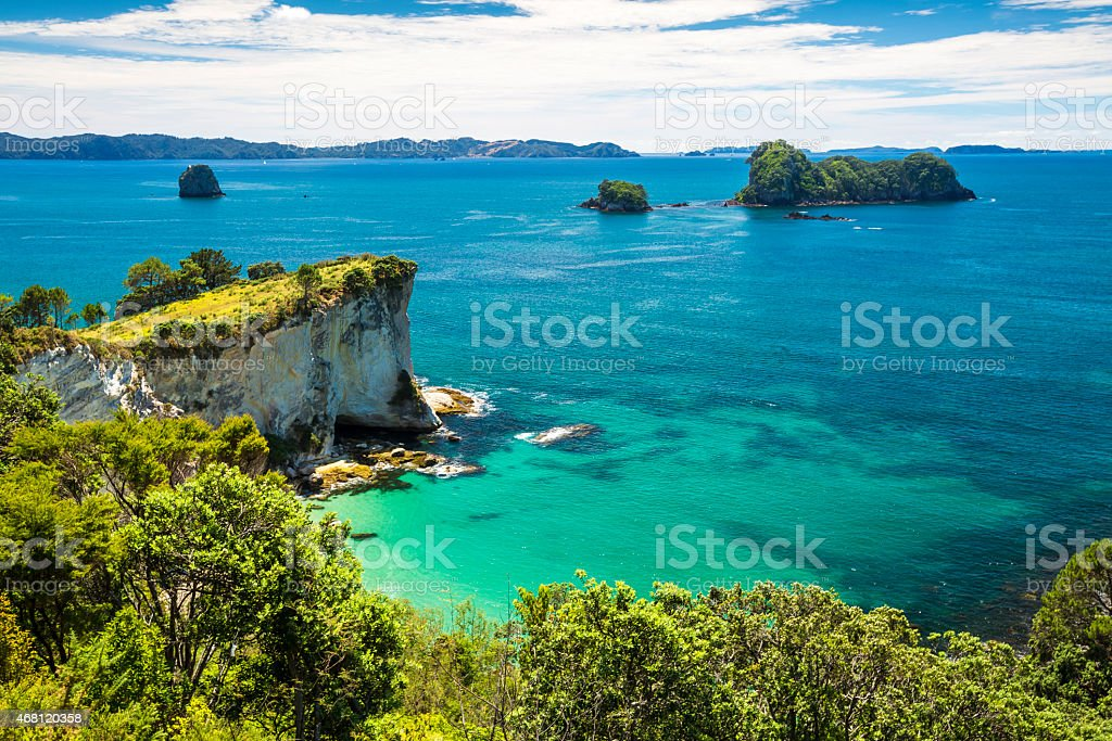 Picturesque wide-shot of ocean and islands in Hei Ho Bay stock photo