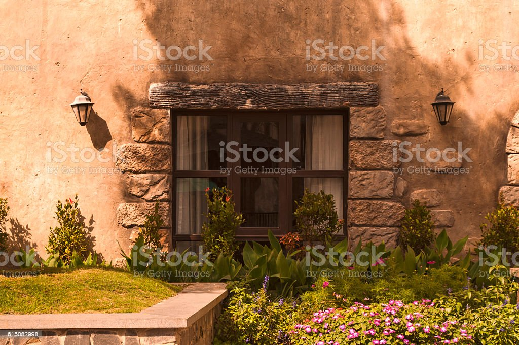picturesque window stock photo
