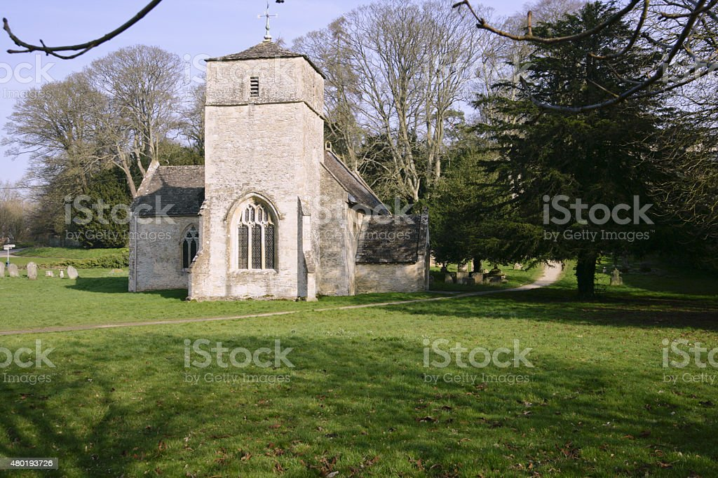 Picuresque Cotswolds church at Eastleach stock photo