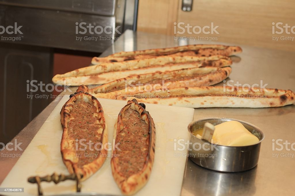 Pide Filled with Minced Meat. stock photo