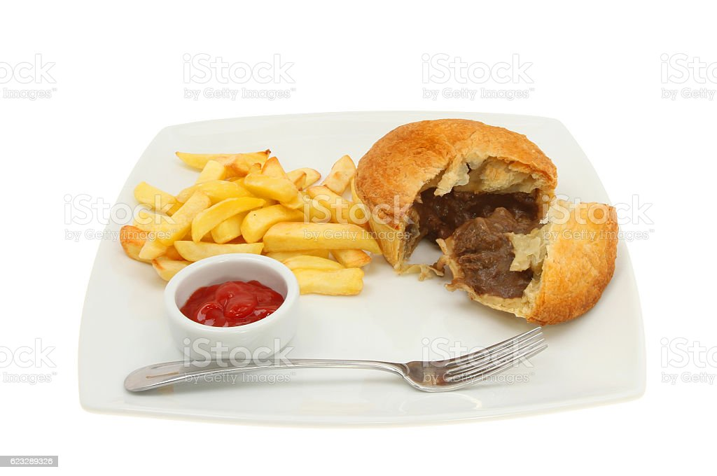Pie and chips stock photo