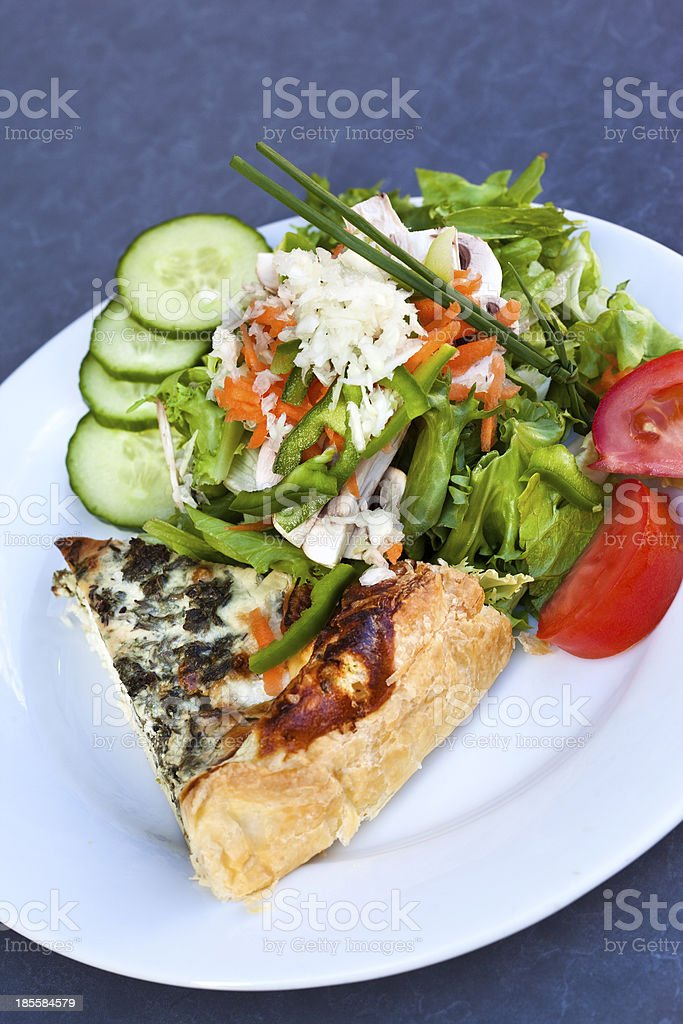 Pie and salad royalty-free stock photo