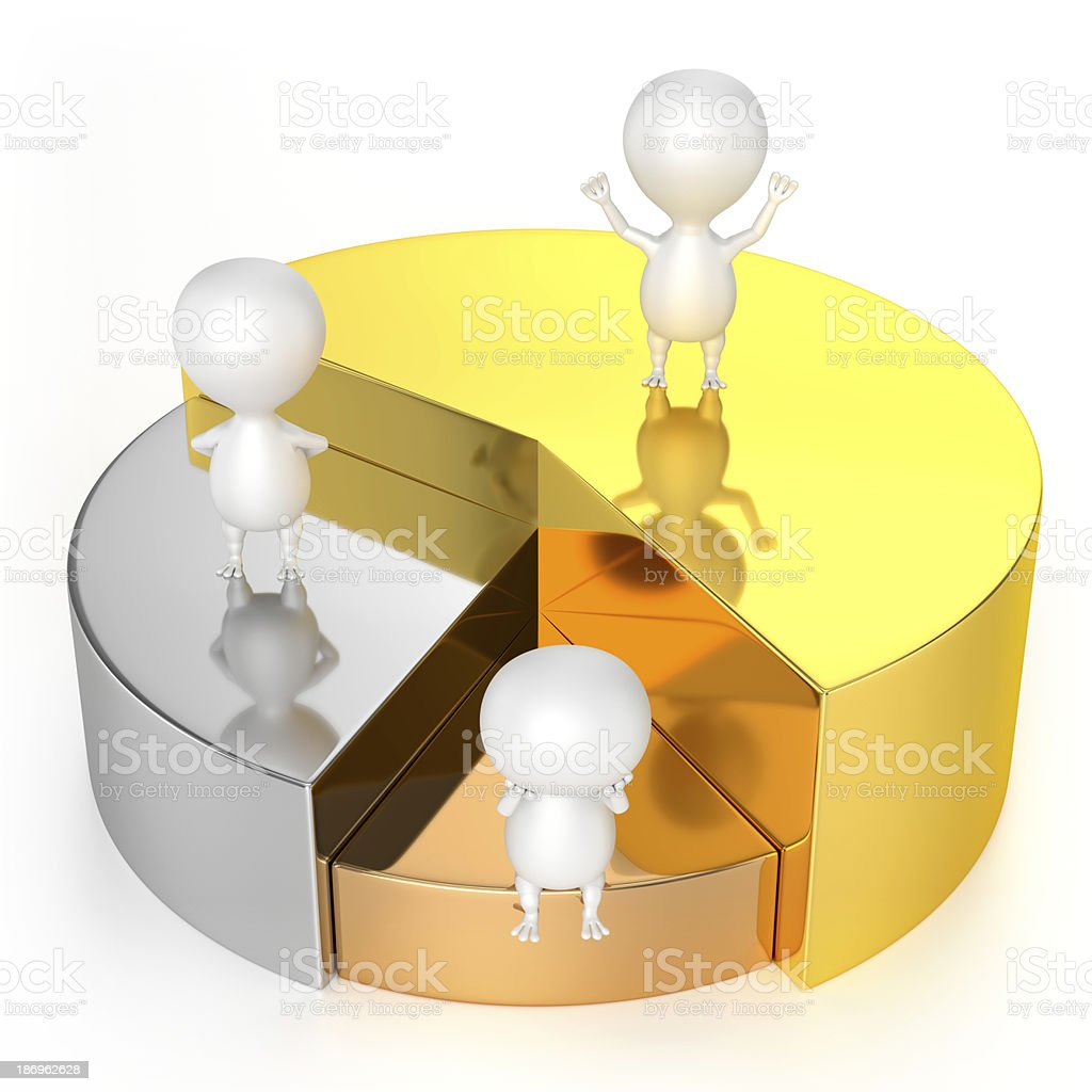 Pie Chart (Gold, Silver, Bronze) and Characters stock photo