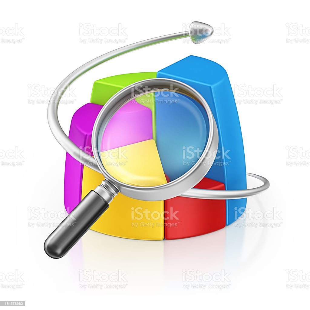 pie chart and loupe royalty-free stock photo