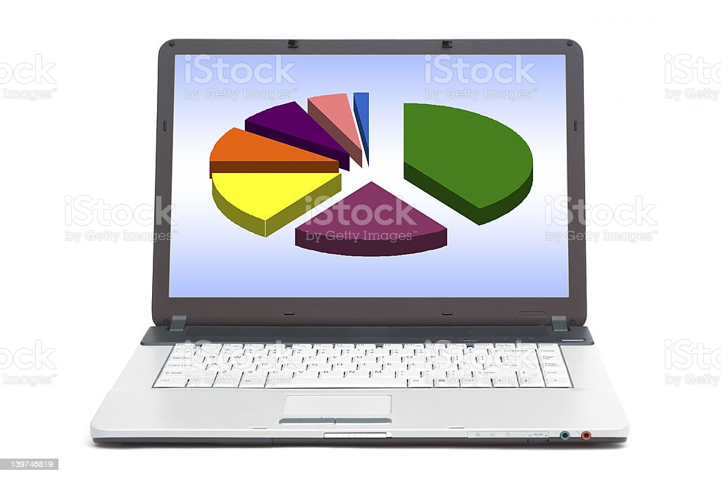 pie chart on the screen of notebook royalty-free stock photo