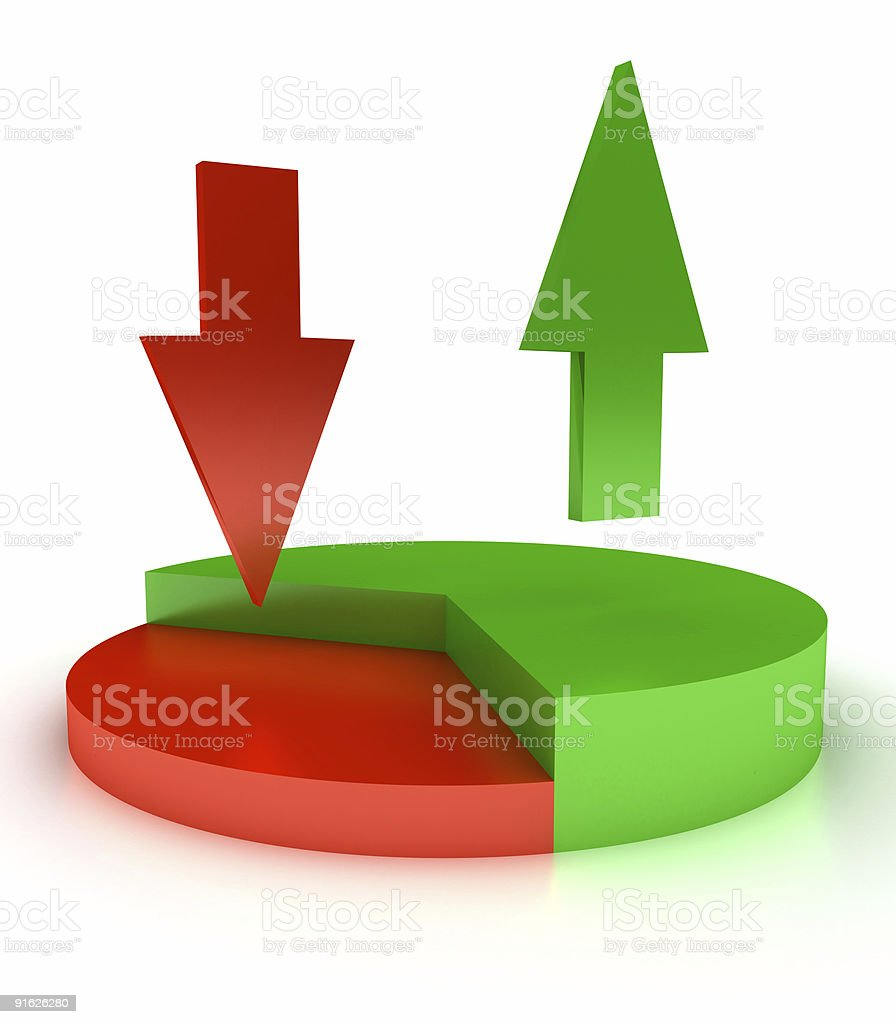 pie chart with arrows royalty-free stock photo