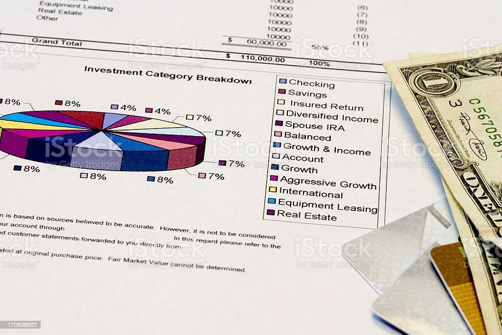 Grafico a torta con denaro foto stock royalty-free