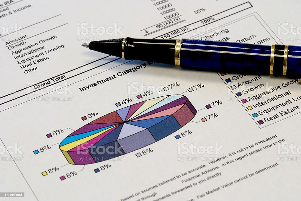 Pie Chart with Pen stock photo