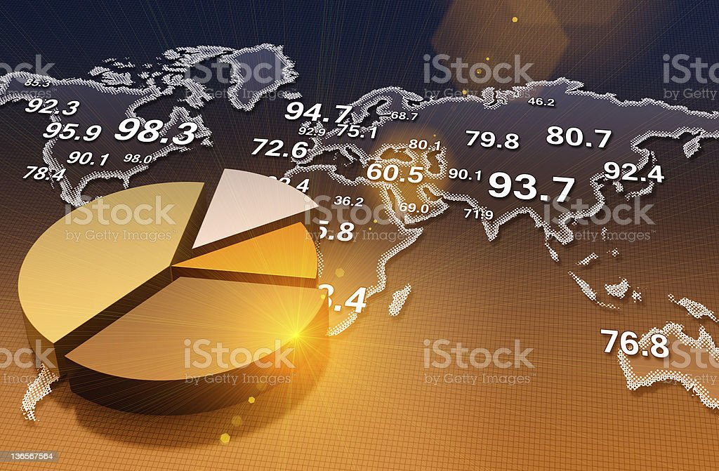 Pie chart with world map stock photo