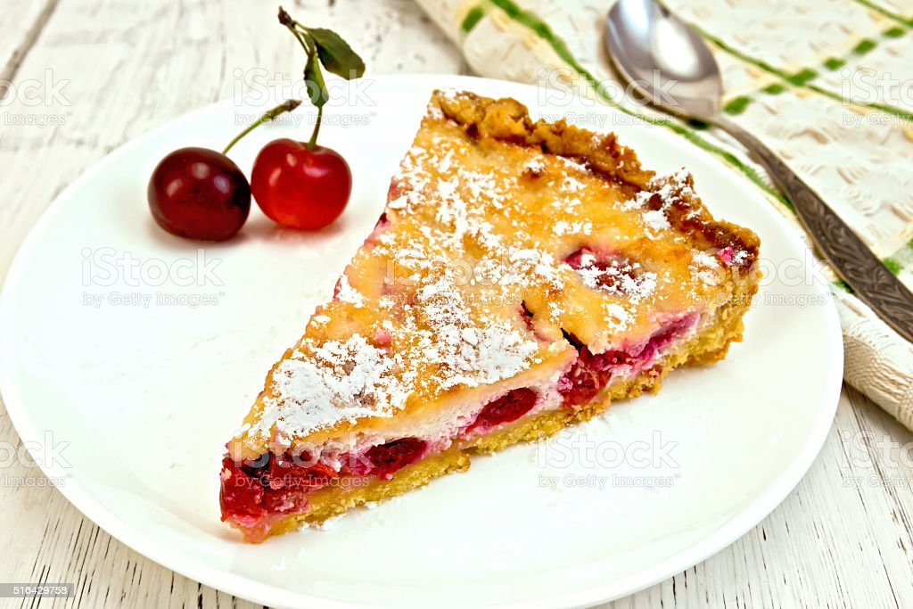 Pie cherry with sour cream on board stock photo