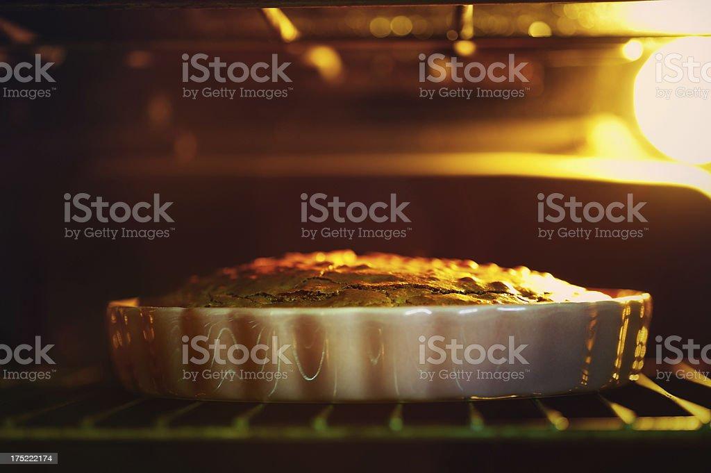 Pie on oven rack stock photo