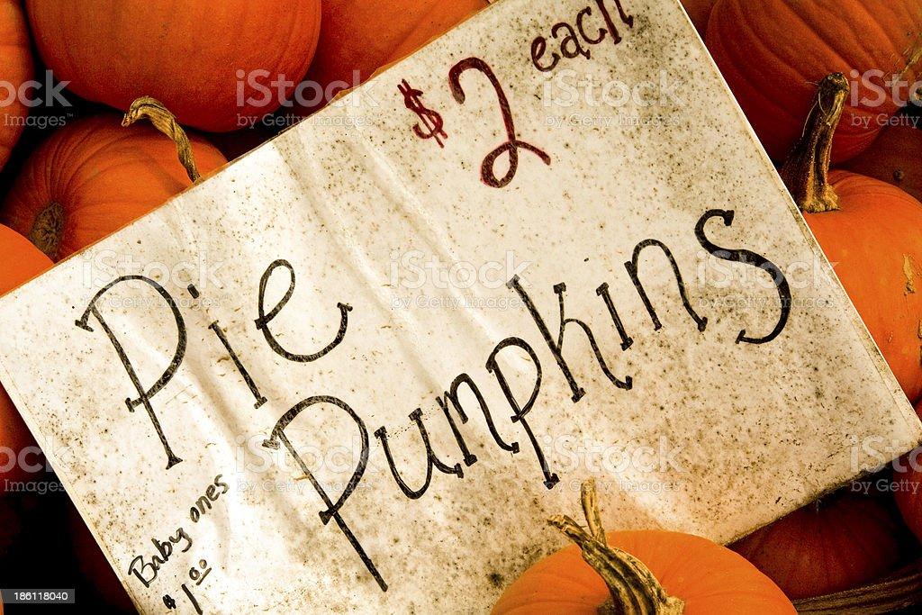 Pie pumpkins for sale stock photo