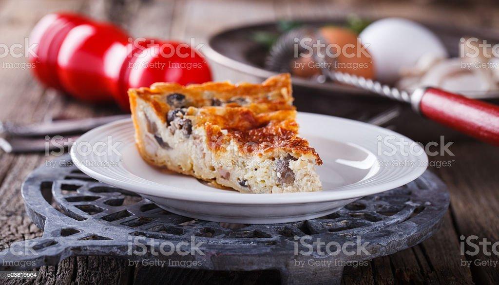Pie quiche with mushrooms stock photo