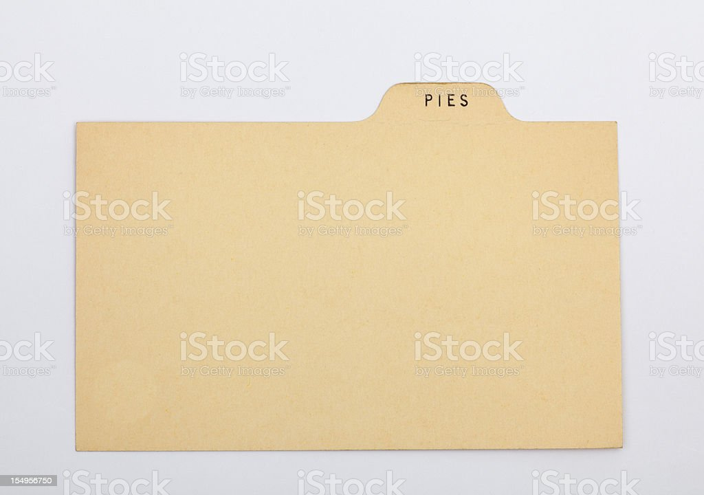 Pie Recipe, Old Blank Index Card Paper Background royalty-free stock photo