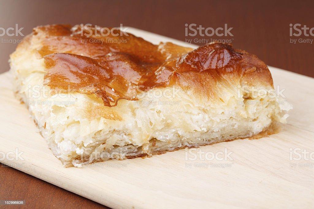 Pie slice with cheese stock photo