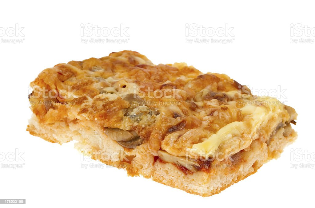 Pie with cheese and mushrooms royalty-free stock photo