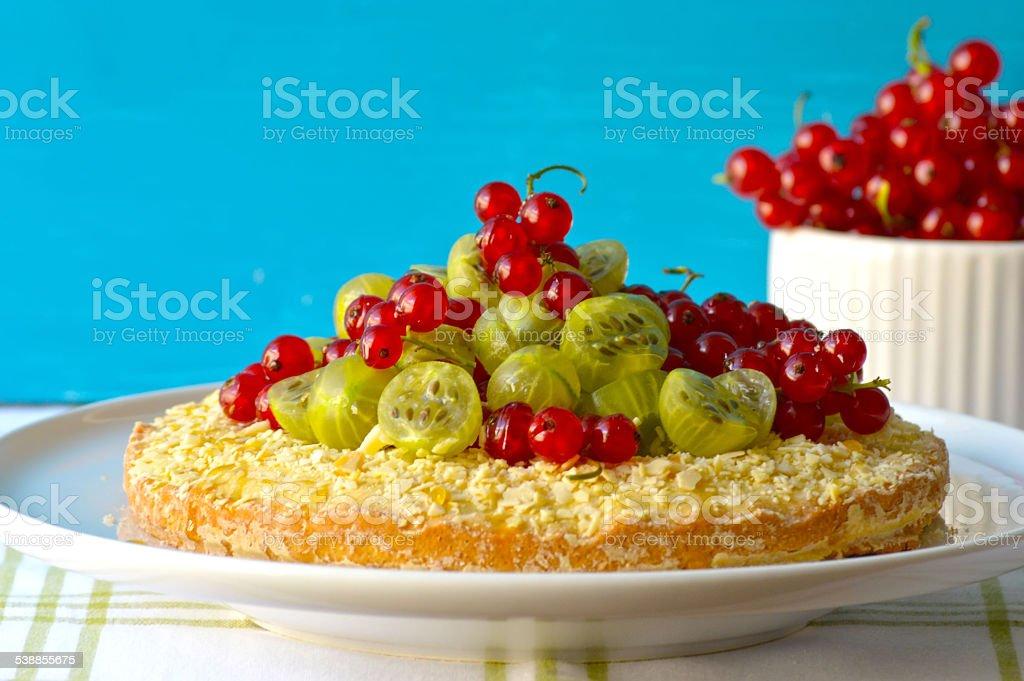 Pie with goosberry and honey stock photo
