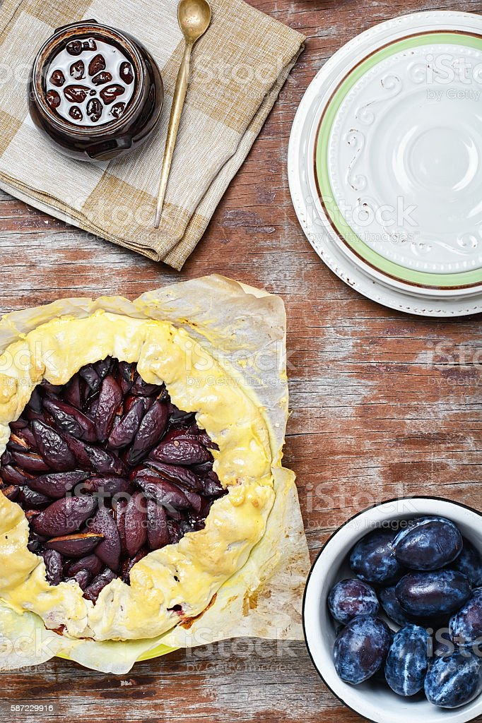 Pie with plums stock photo