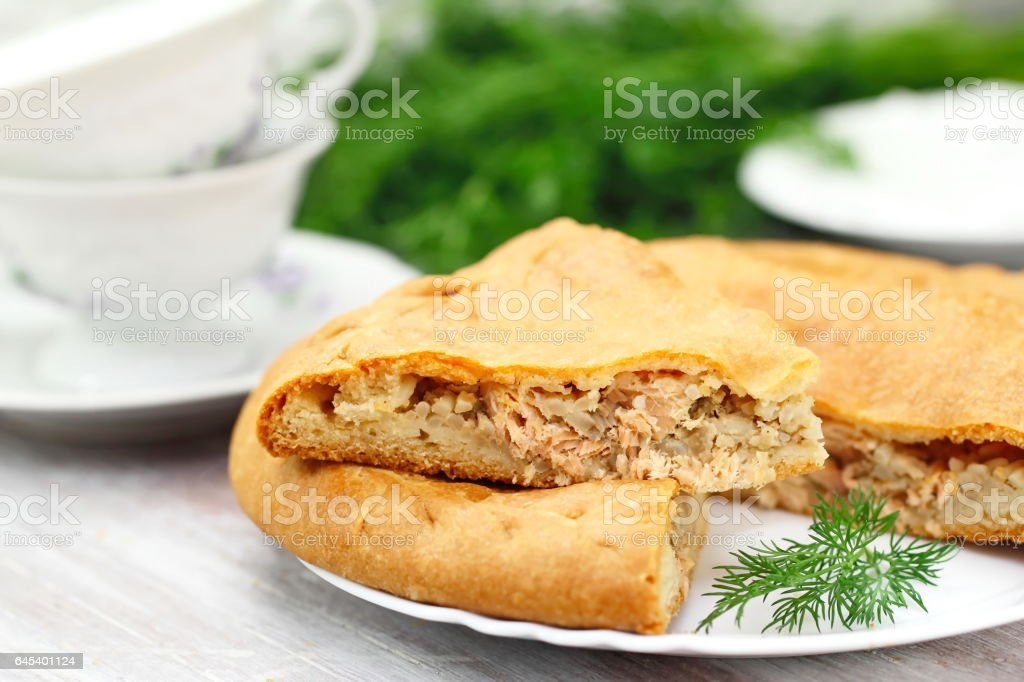 Pie with red fish and rice stock photo