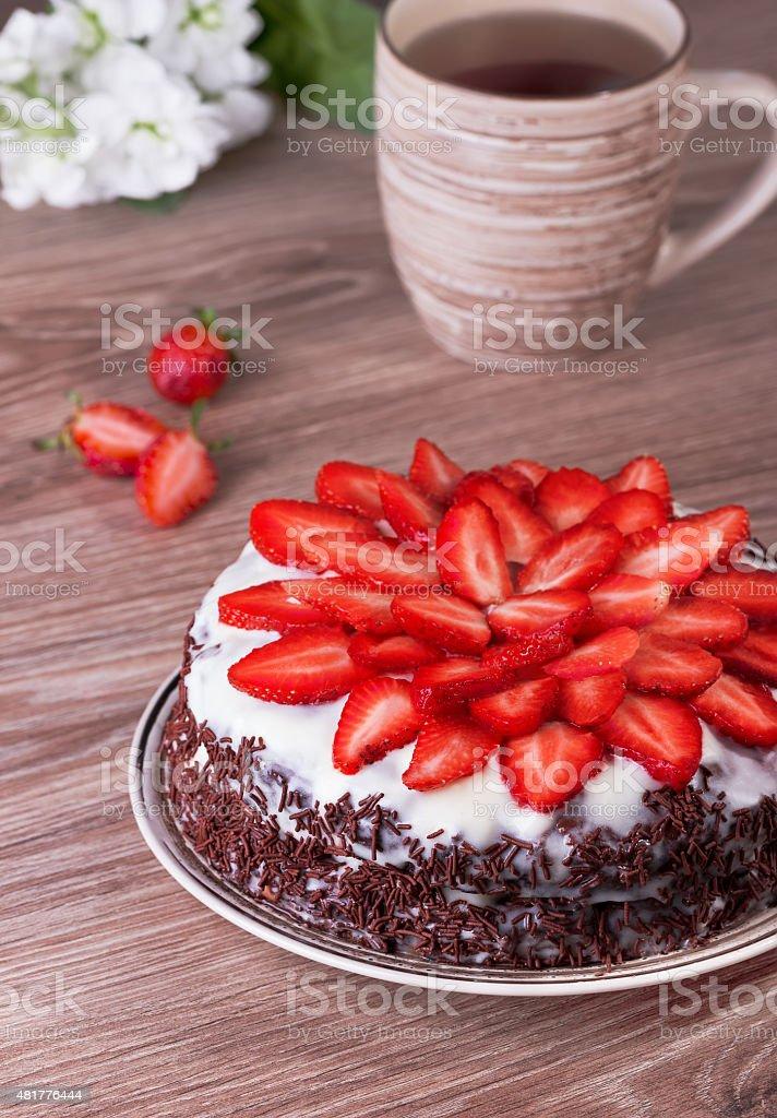 pie with strawberry stock photo