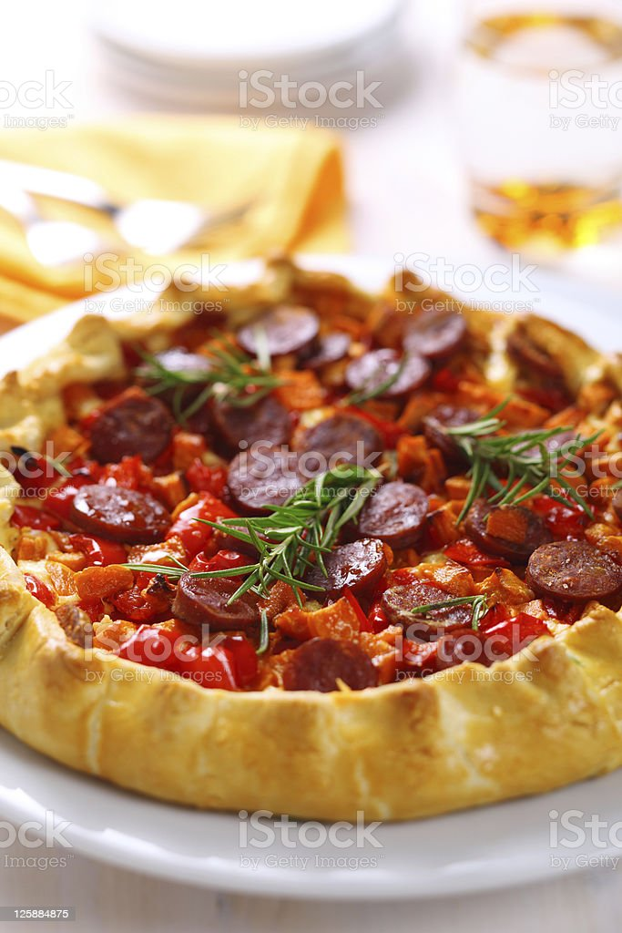 Pie with sweet potato, sausage and red pepper royalty-free stock photo