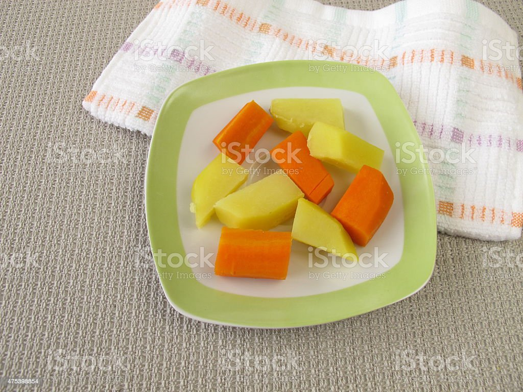 Piece food for babies for baby-led weaning stock photo