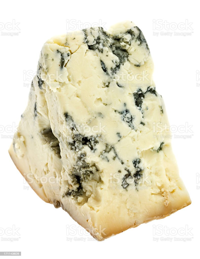 Piece of aged blue cheese stock photo