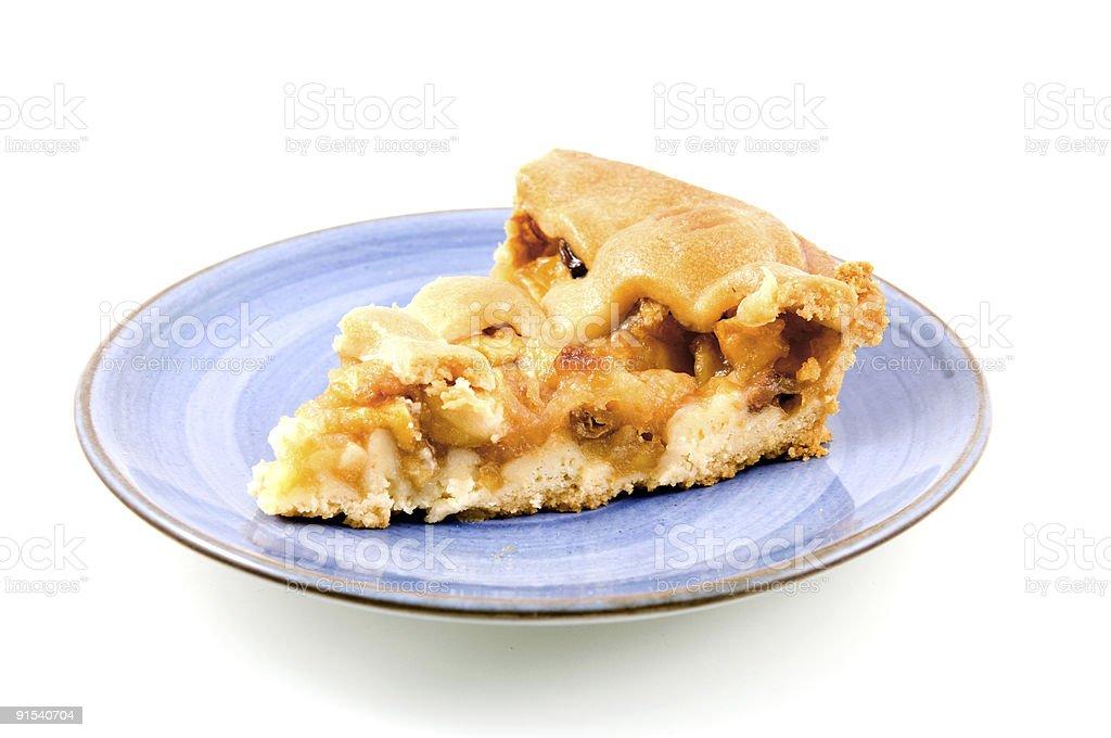 Part de tarte aux pommes sur du blue plate photo libre de droits