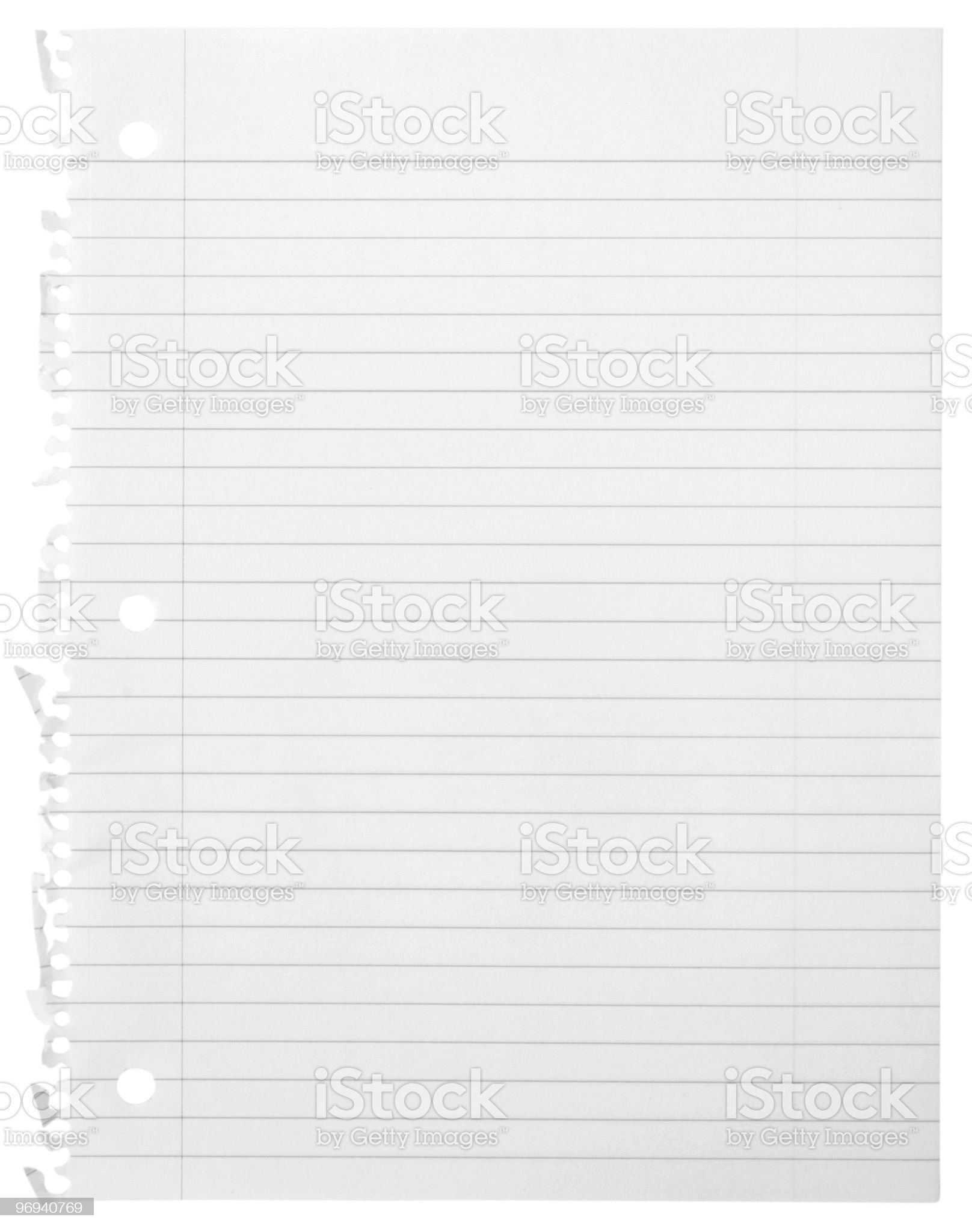 A piece of blank notebook paper torn out of its book royalty-free stock photo