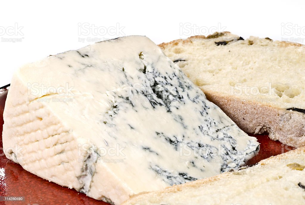 Piece of blue cheese and bread royalty-free stock photo