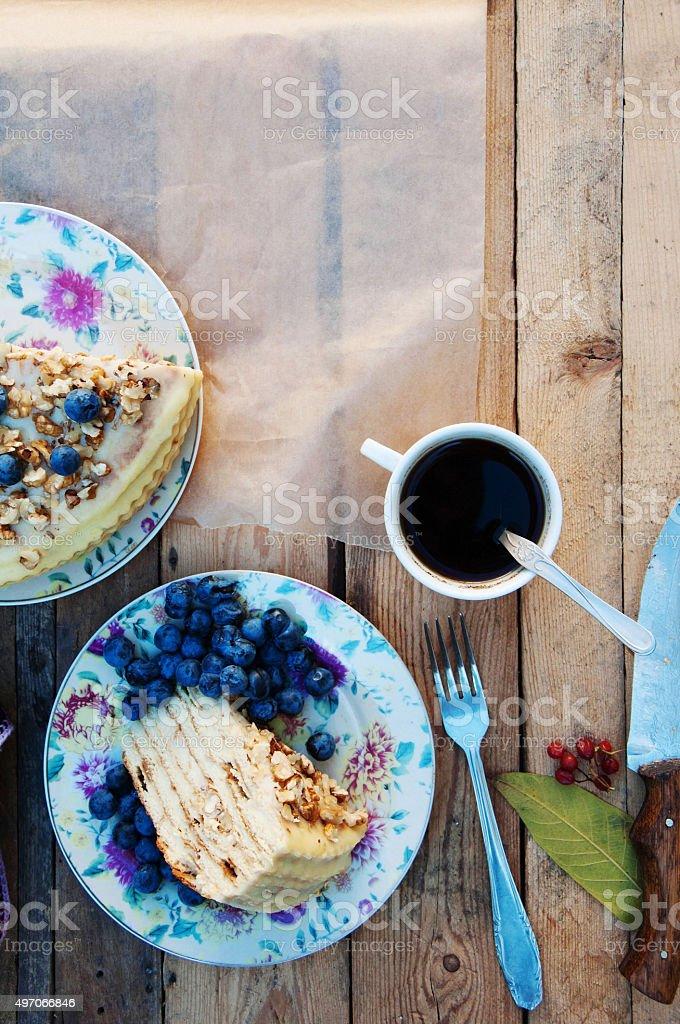Piece of blueberry cake royalty-free stock photo