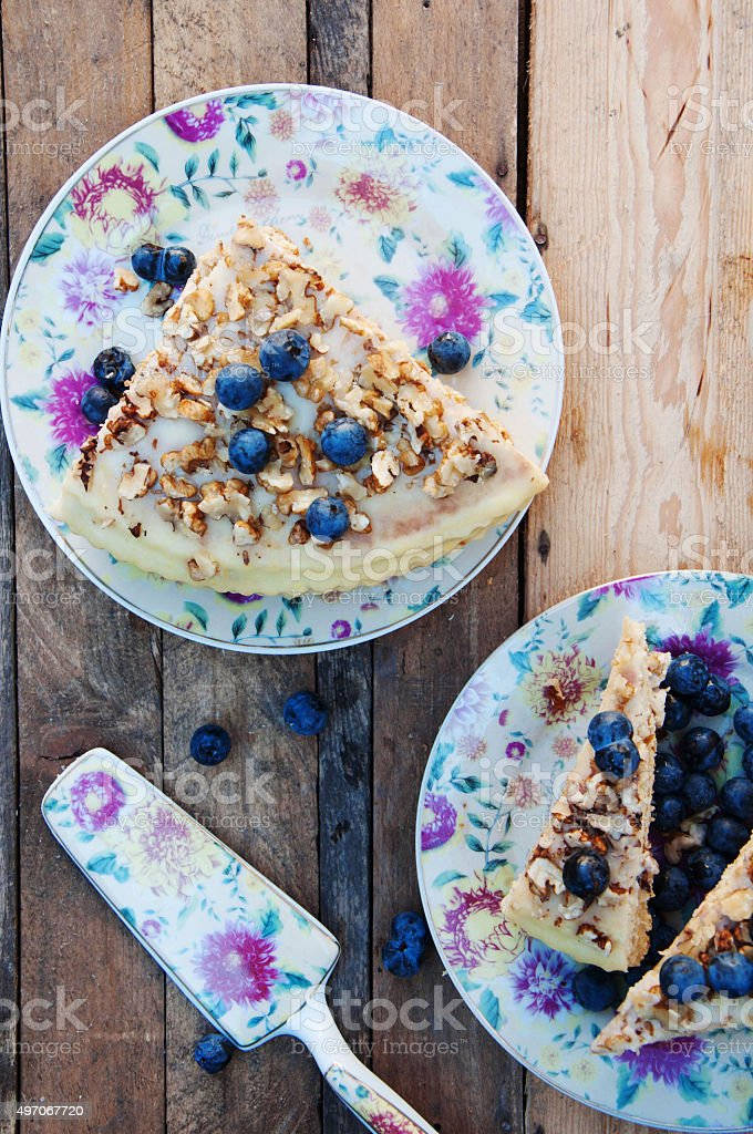 Piece of blueberry cake royalty-free stock photo