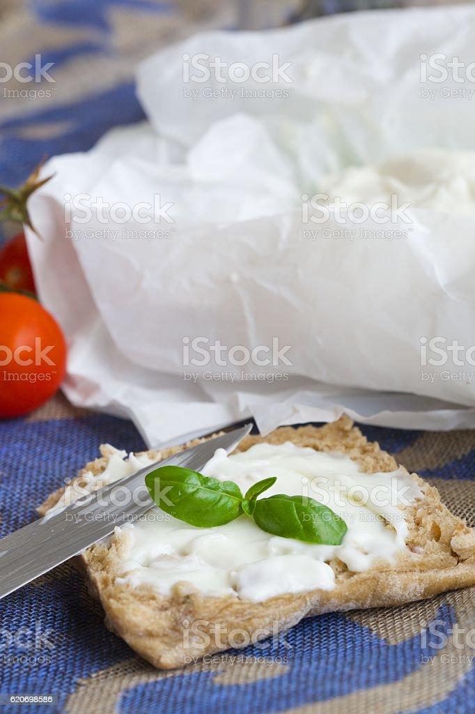 Piece of bread with stracchino cheese. Closeup stock photo