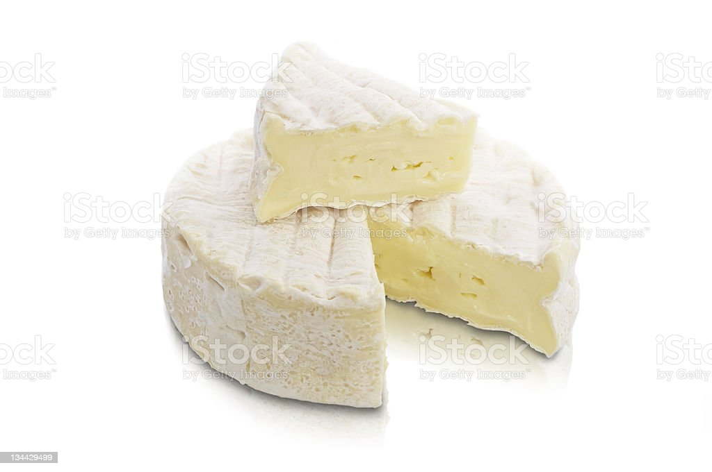 Piece of Brie on top stock photo