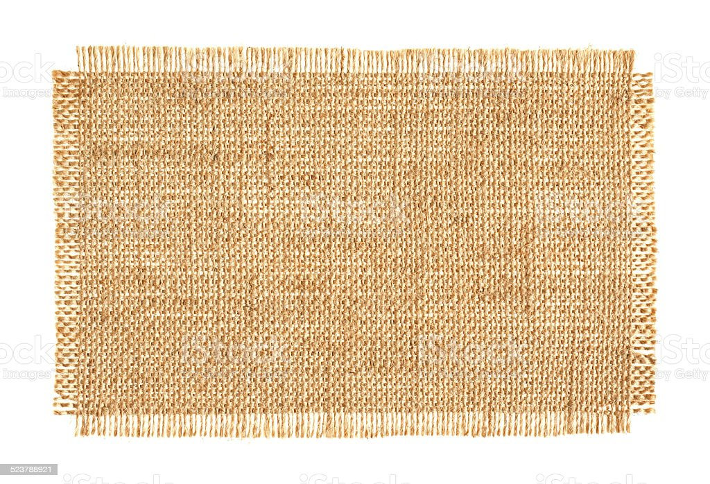 Piece of Burlap background textured isolated on white background stock photo