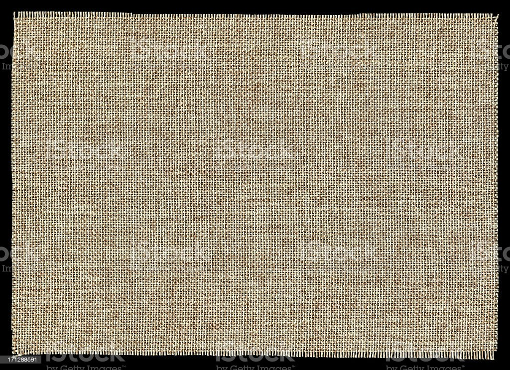 Piece of Burlap background textured isolated stock photo