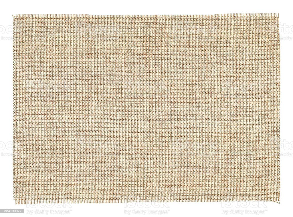 Piece of Burlap textile background textured isolated stock photo