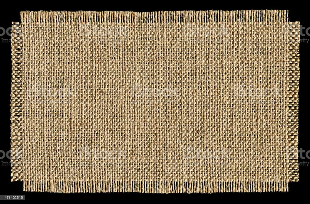 Piece of burlap textured background isolated stock photo