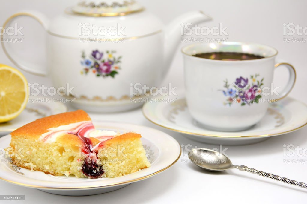Piece of cake on a plate stock photo