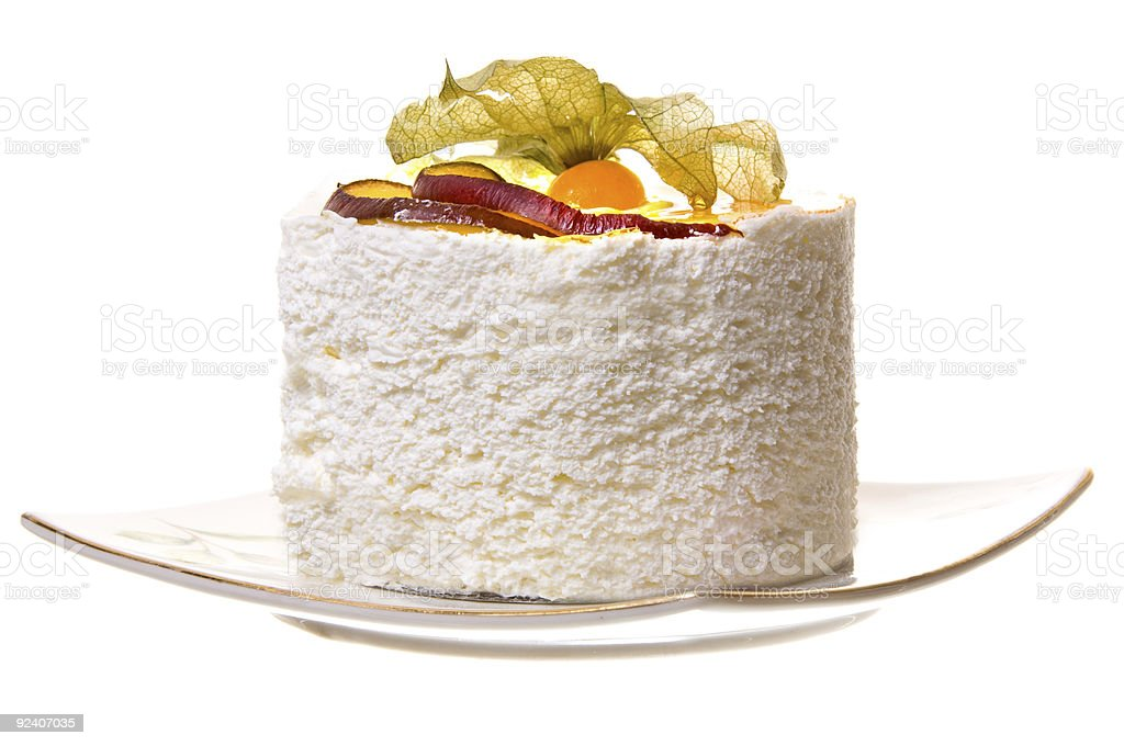Piece of cake with fruits. royalty-free stock photo