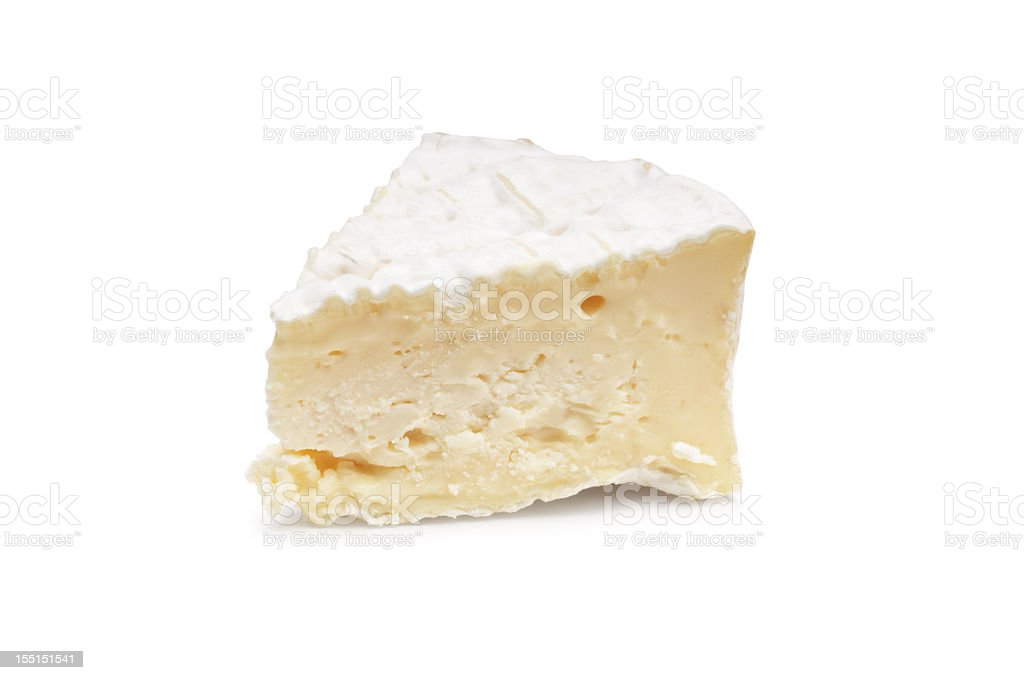 A piece of Camembert on a white background stock photo