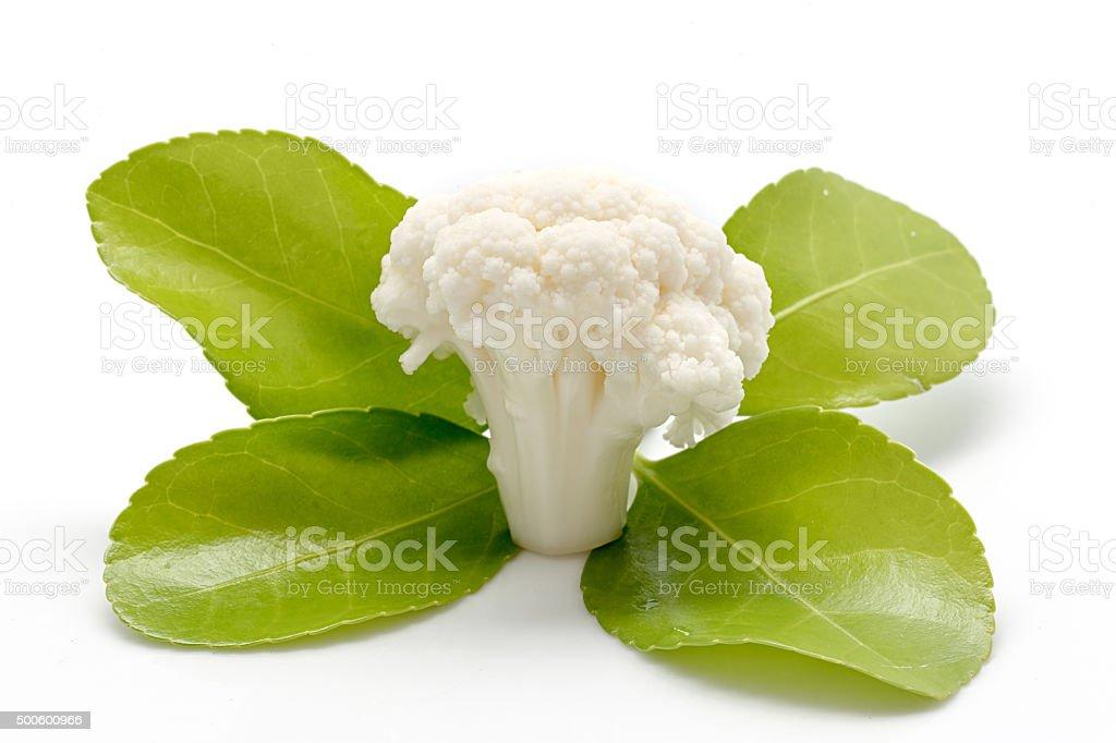 Peça de couve-flor e folhas verdes em fundo branco foto royalty-free