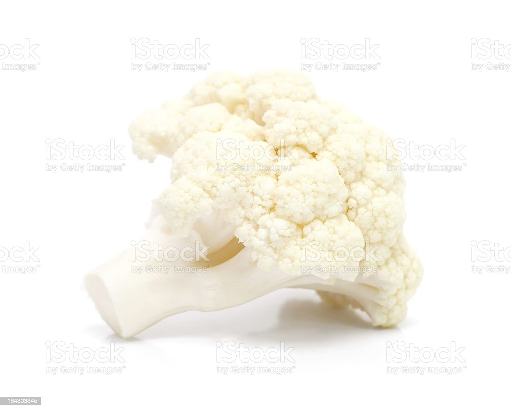 Piece of cauliflower on a white background. stock photo