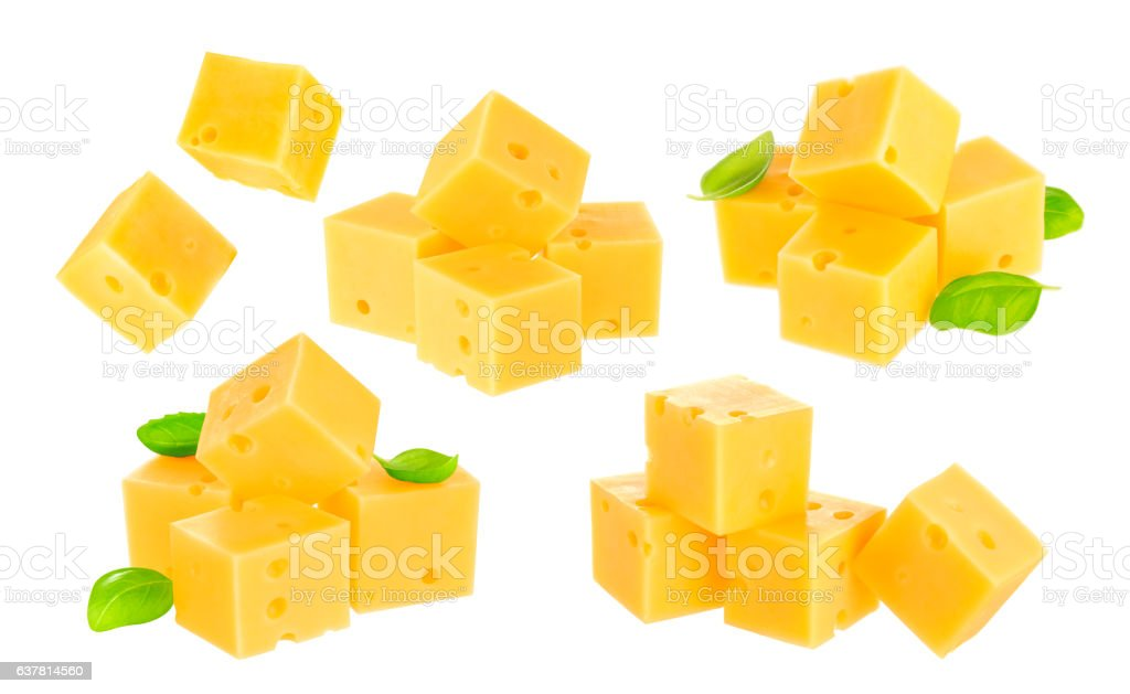 Piece of cheese isolated on white background. stock photo