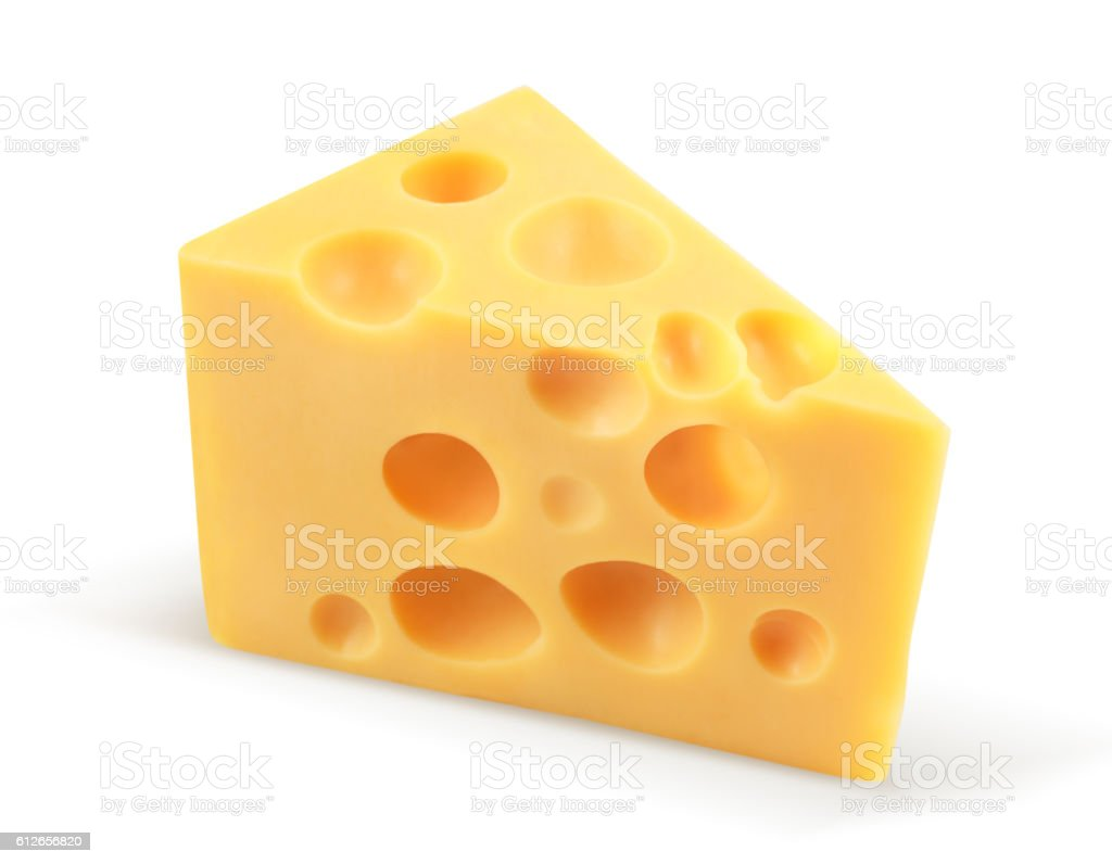 piece of cheese isolated on white with clipping path stock photo